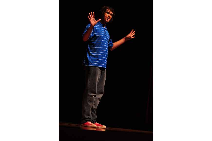 Ethan Cahill, as Joe, helped the audience learn about grammar.