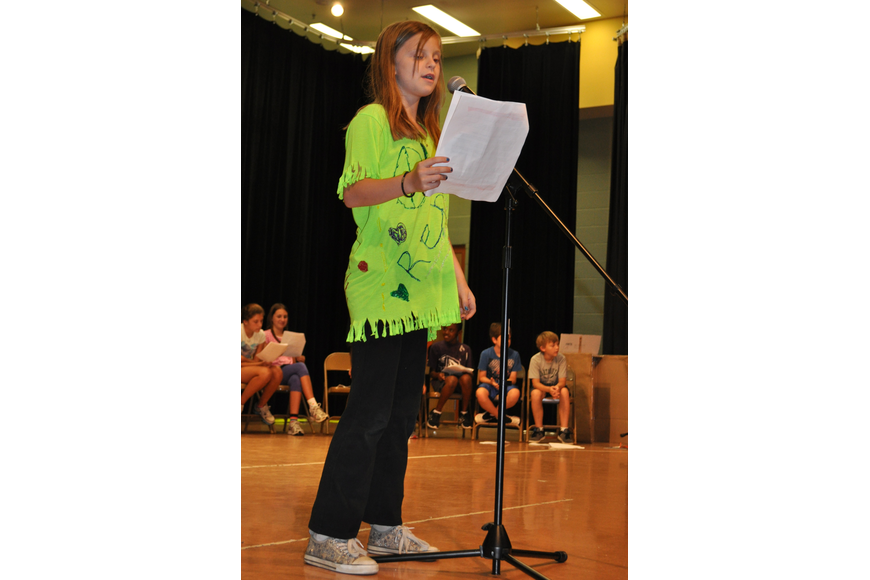 Renee Ashby was one of several students to introduce talent show performers.