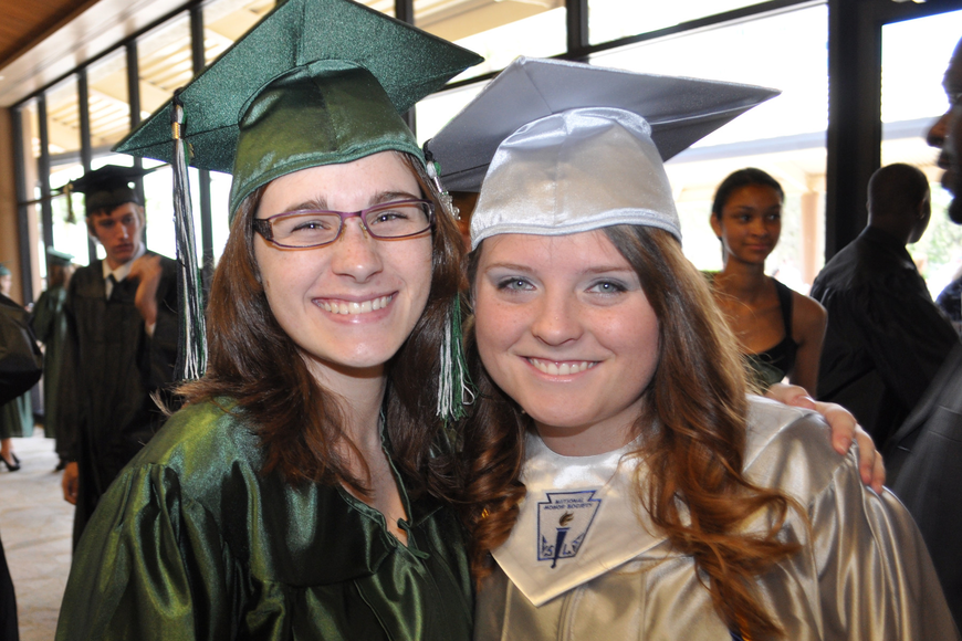 Lakewood Ranch seniors Cassandra Schwartzkopf and Taylor Shearer were all smiles while preparing for their graduation ceremony.