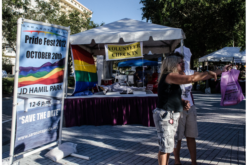 Festivalgoers posed for photos during Pride Fest 2012.