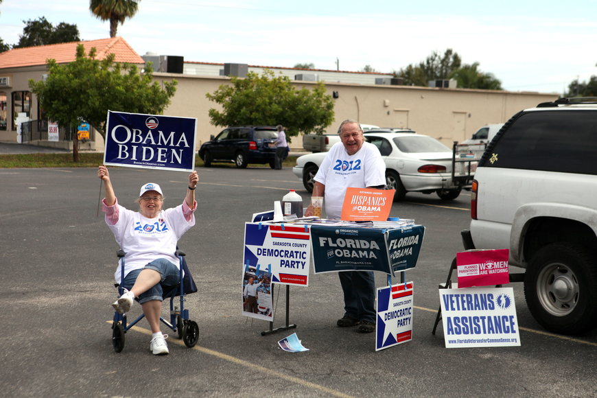 Rowena Moomey and Jerry Carpenter set up a table at the Knights of Columbus polling place Wednesday, Nov. 6, Election Day.