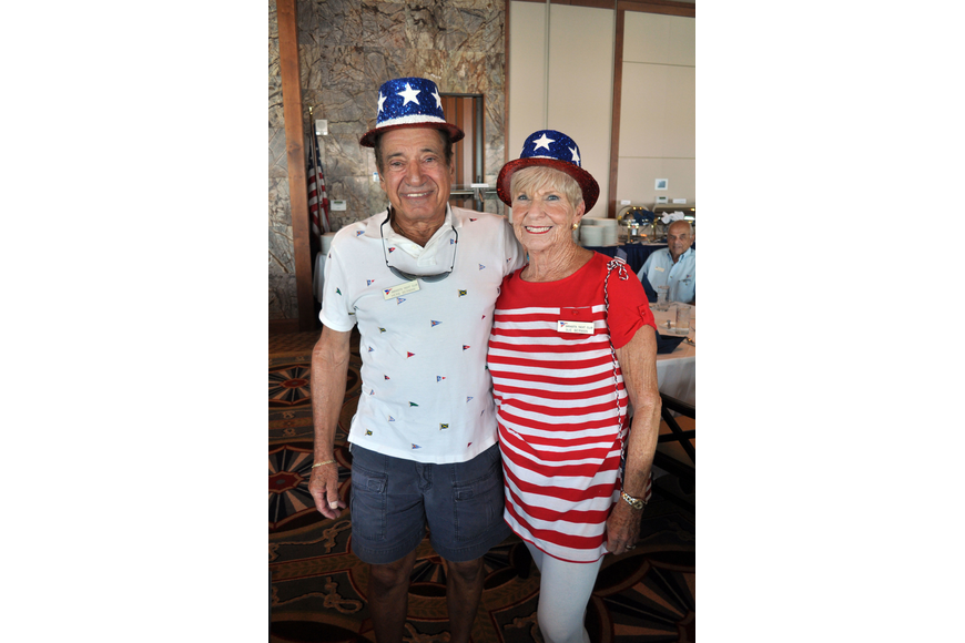 Herb and Sue Berman donned Uncle Sam hats for the Sarasota Yacht Club's Fourth of July celebration.