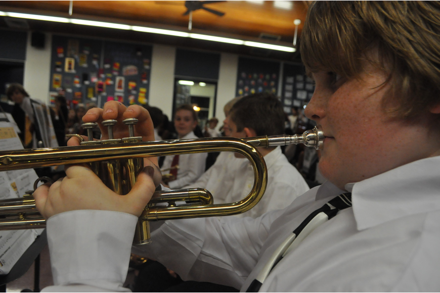 Connor Keane plays the trumpet in the orchestra.