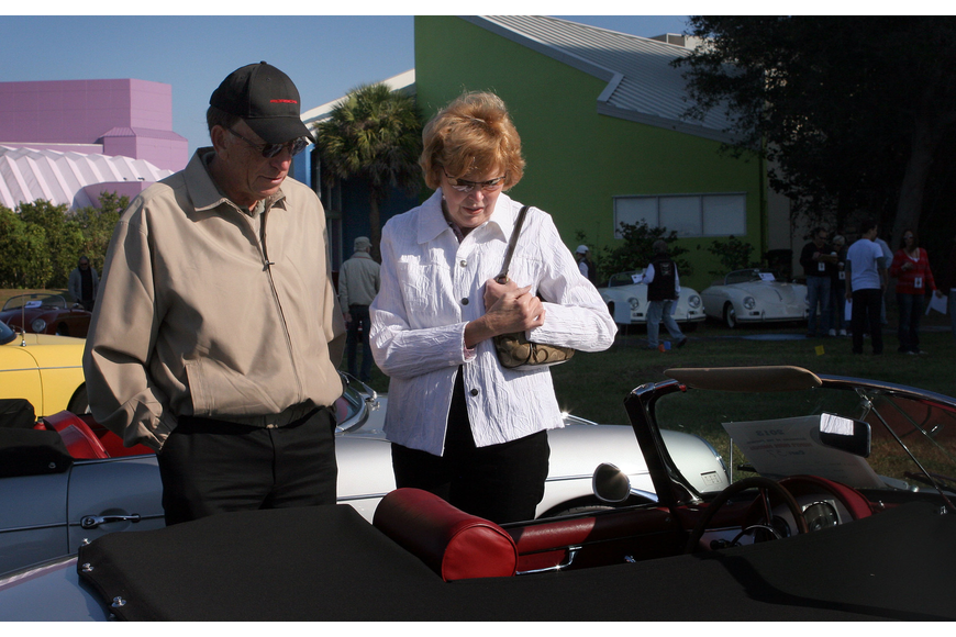 John and Gail Drews have fun looking at the Porsches on display at the 6th annual Gathering of the Faithful 2013.