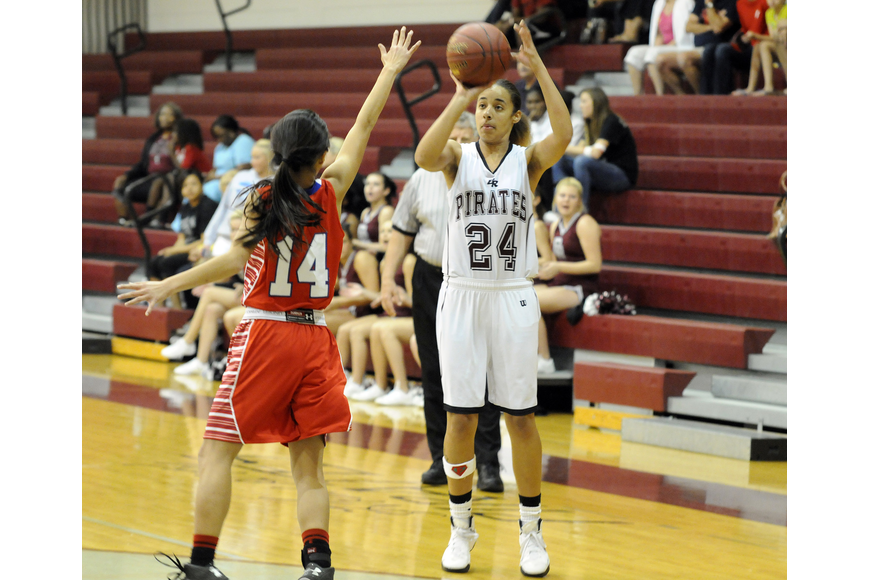 Braden River senior Kiki Mitchell attempts a shot in the first quarter.