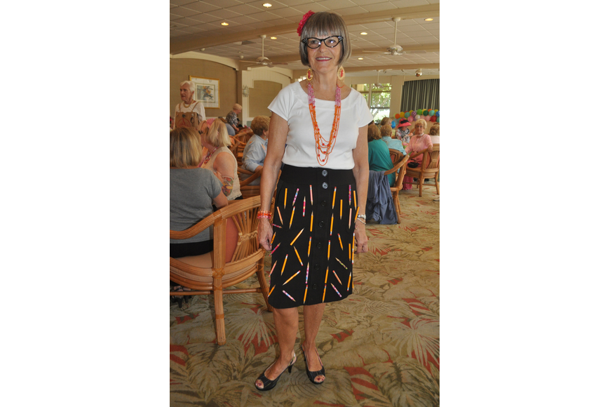 "Clarise Pellegrino in a ""no. 2 pencil"" skirt."