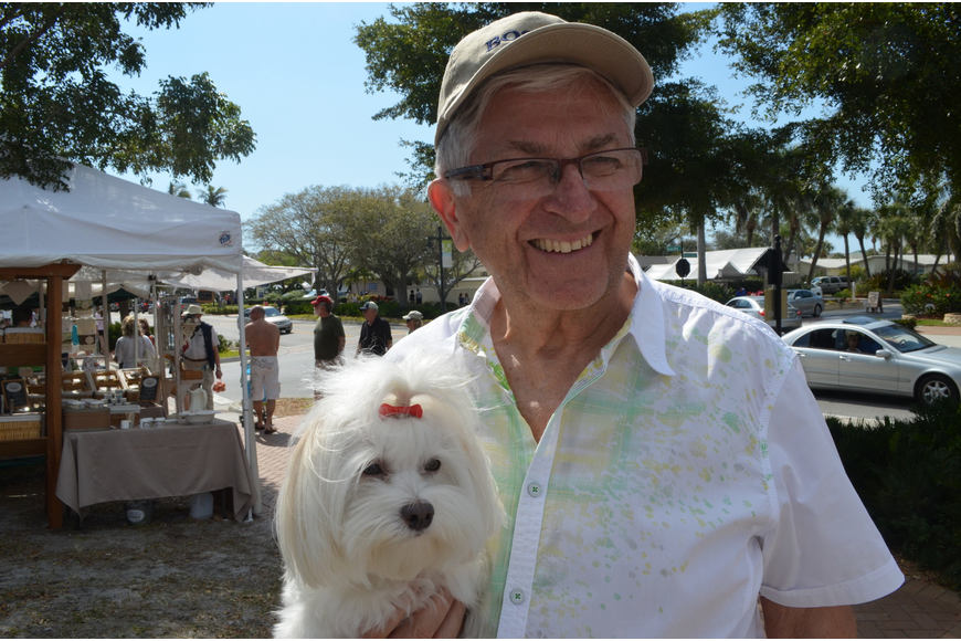 Fred Cooke and his three- year – old Maltese Cody