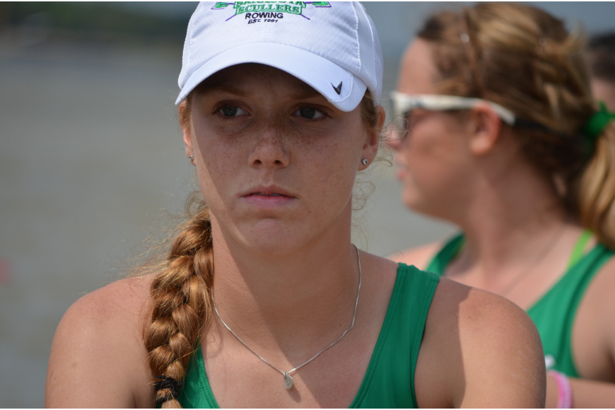 Sarasota Scullers Rower Payton Harris concentrates before setting off at the start.