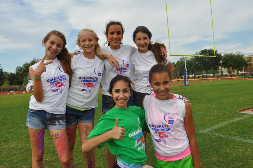 Out-of-Door sixth graders of Team Lightening: (Back) Hannah Bizick, Caroline Lafoe, Mackenzie Condrack and Caty Castro; (Front) Sophia Delgado and Lexi Myers