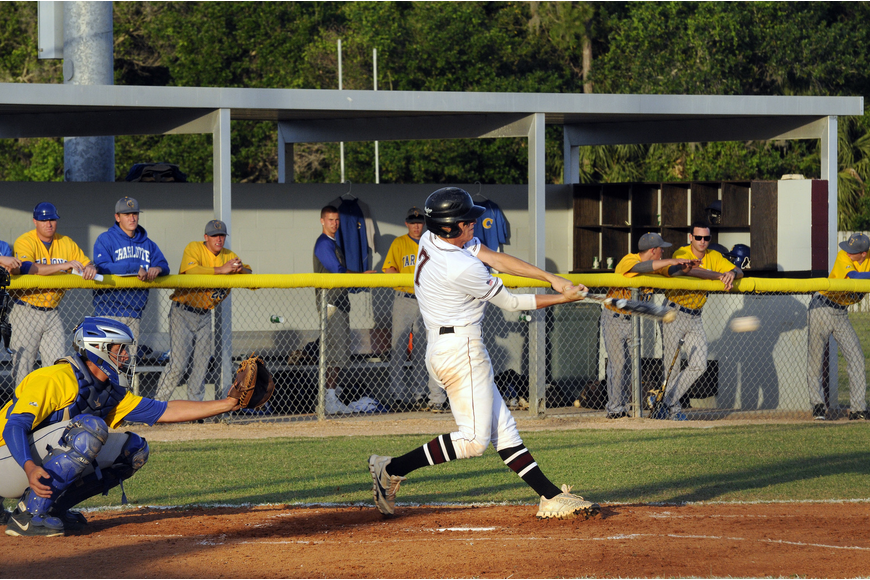 Braden River's Myles Straw makes contact in his first at bat of the game.