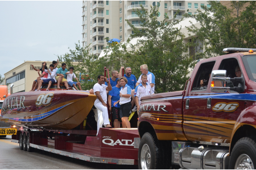 The Qatar boat team rode in the parade.