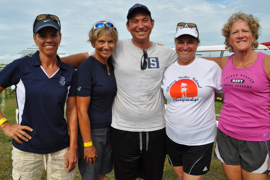 Eve Goldberg, Allison Geist, head coach Jason Moskowitz, Nadine Champion-Thomas and Sue Gutek supported fellow members of the Sarasota Crew.