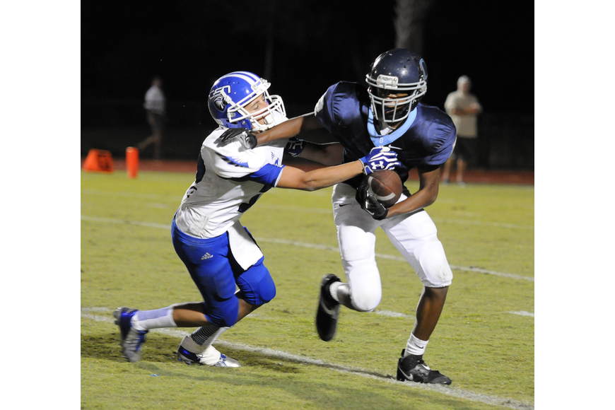 ODA freshman Amad Brayboy carries the ball on the Thunder's final possession of the game.