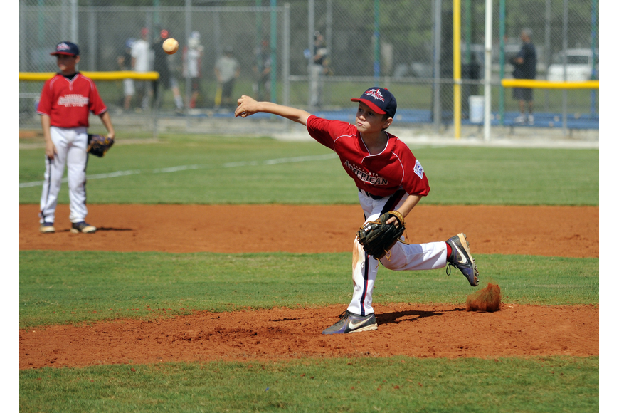 Pitcher Austin Harford came on in relief for the Sarasota American 9/10 All-Stars.