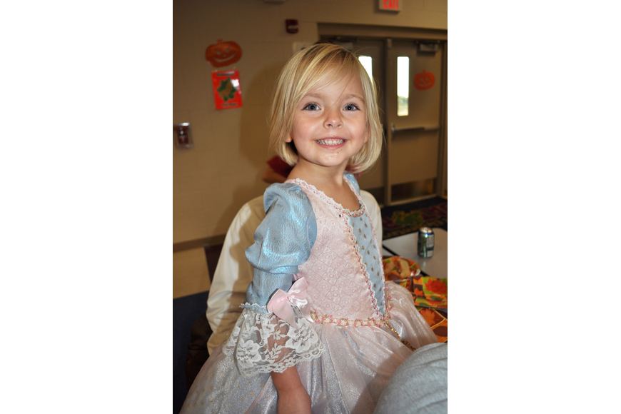 Collier Moser, 3, dressed like a princess for the occasion.