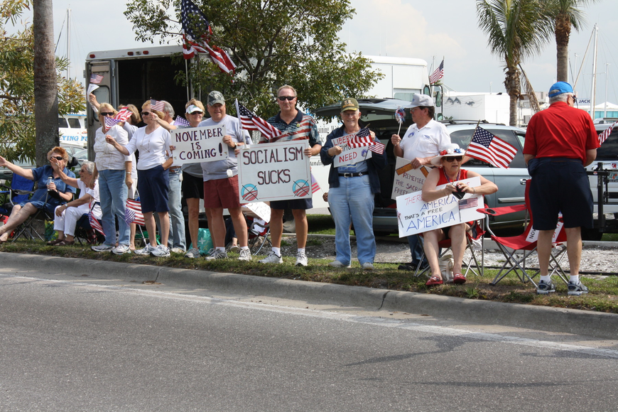 Hundreds of demonstrators lined Tamiami Trail in April for the Tax Day Tea Party.