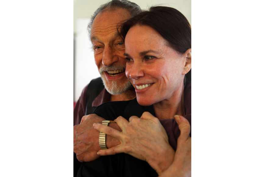 David Leffel came up behind his friend Barbara Hershey to give her a hug during a workshop break.