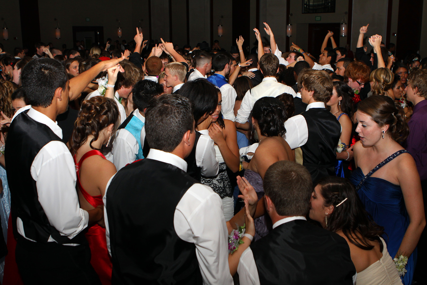 Students enjoy dancing on the dance floor with their dates and friends Saturday, May 14 at the Sarasota High School's prom at the Hyatt Regency.