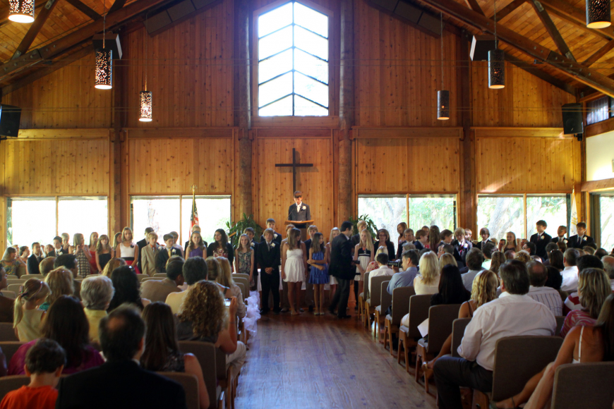 All the students in the graduating class line up during the Sixth Grade History speech Friday, June 3 during ODA's 6th grade graduation at Siesta Key Chapel.
