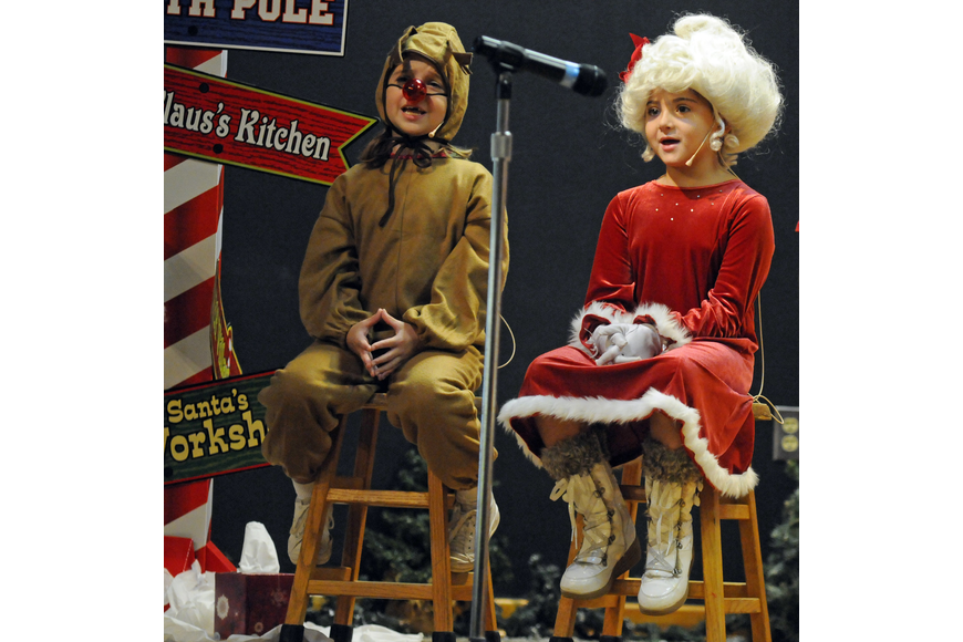 Seven-year-old Grace Lumsden played the role of Rudolph and six-year-old Ava Barak played the role of Mrs. Claus in this year's musical.