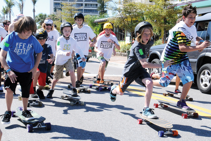 Eleven-year-old Bayou Bowman pulled out in front to win the 12-Year-Old and Under division of a longboarding competition held March 13 on Ocean Boulevard.
