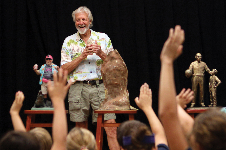 Sarasota sculptor Jack Dowd answered lots of questions about his craft during a presentation to fourth-graders at The Out-of-Door Academy.