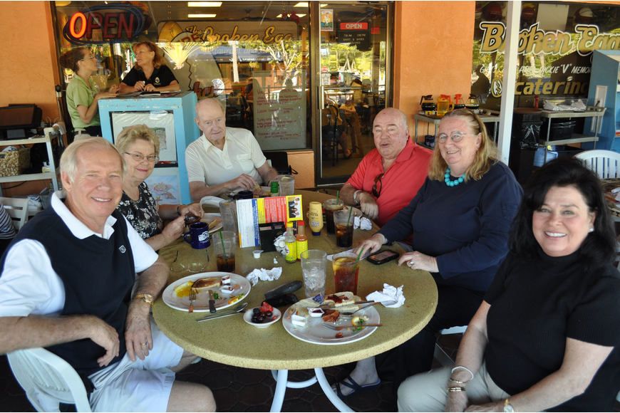 Lloyd Marks, Ruth and Mel Arnold, Richie Irving, Helene Hyland and Suzanne Marks enjoy breakfast at The Broken Egg.