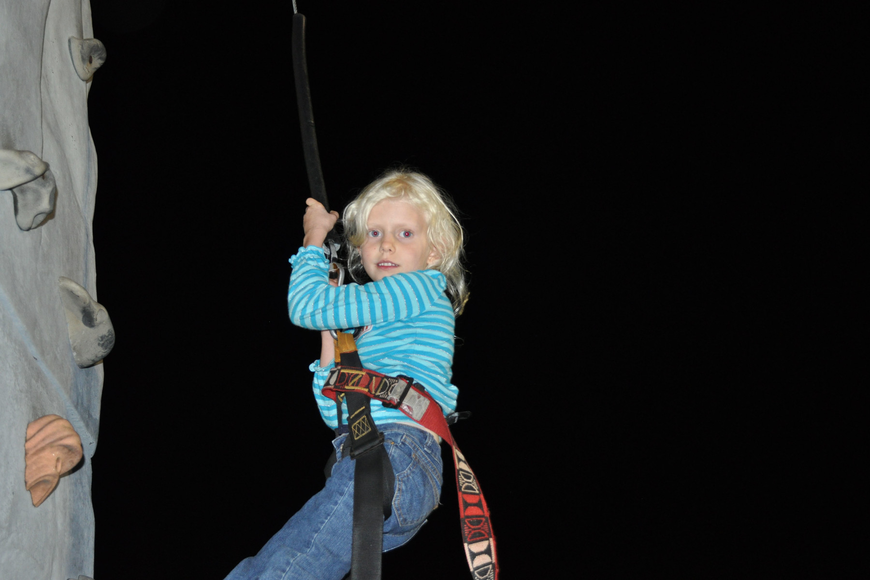 Fairyn Wiegand climbed the rock. She expressed no fear after the climb.