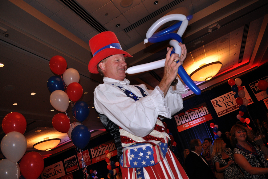 Billy Damon walked on stilts and made balloon creations Tuesday, Nov. 6, during the Republican Party of Sarasota Election Night Party at the Hyatt in Sarasota.