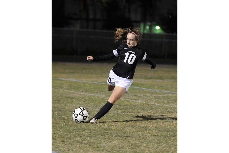 Braden River's Liz Shirey sends the ball up the field in the second half.