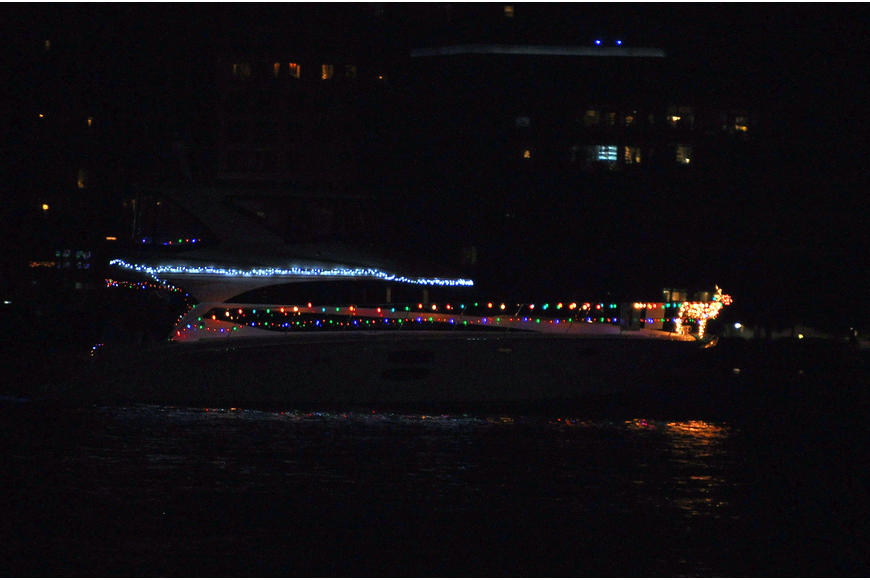 Rudolph led the way for this boat that took part in the 26th Annual Sarasota Christmas Boat Parade.