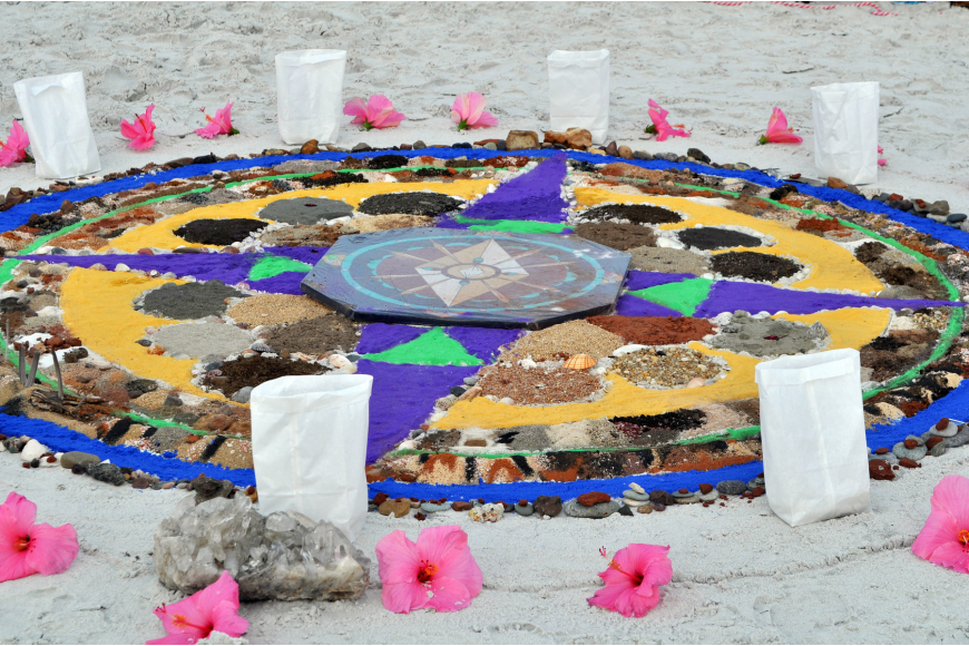 The mandala's design was created by Jo Mooy and took three hours to assemble.