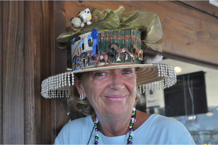 Gwen Mooney won best hat May 5 at Moore's Stone Crab Restaurant's annual Kentucky Derby party.