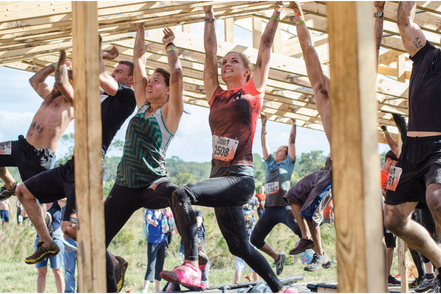 Participants tested their strength on the monkey bars, during the Tough Mudder challenge Dec. 1. Published Dec. 6, 2012.