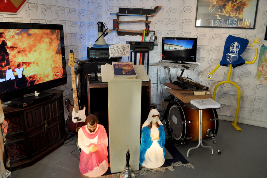 Instruments and stage props used in live performances were on display.