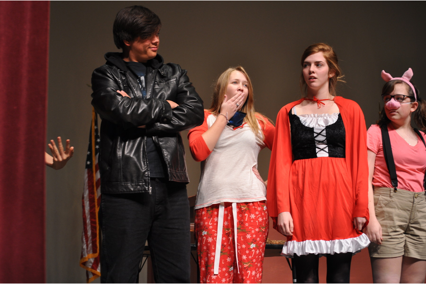 Nathan Evens, playing Hansel; Maddison Jordan, as Sleeping Beauty; DeAnne Sipes and Emily Gartenberg posed as the curtains closed.