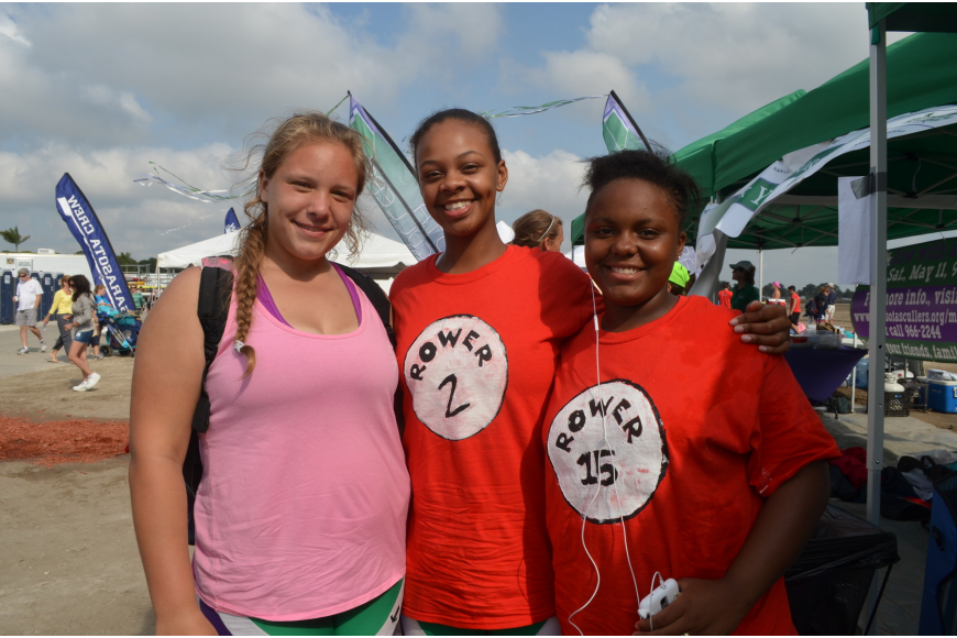 Sarasota Scullers rowers Raven Spells, Kimia Spikes and Dn'asia Bowman