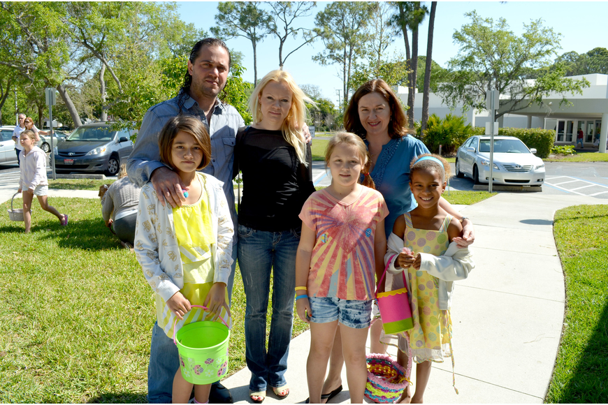 Andre and Llidiya Simotovic with their daughter, Luna, and Jana Petrovic, her daughter Nicole and friend Jaelen Hebdon