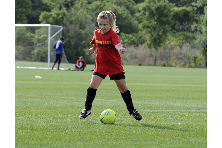 McNeal Elementary School kindergartner Mary Cates' favorite part of soccer is scoring goals.