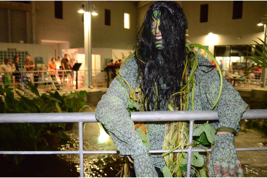 "Ryan Sigel, Mote Marine's ""swamp monster"" at Mote's Night of Fish, Fun and Fright."