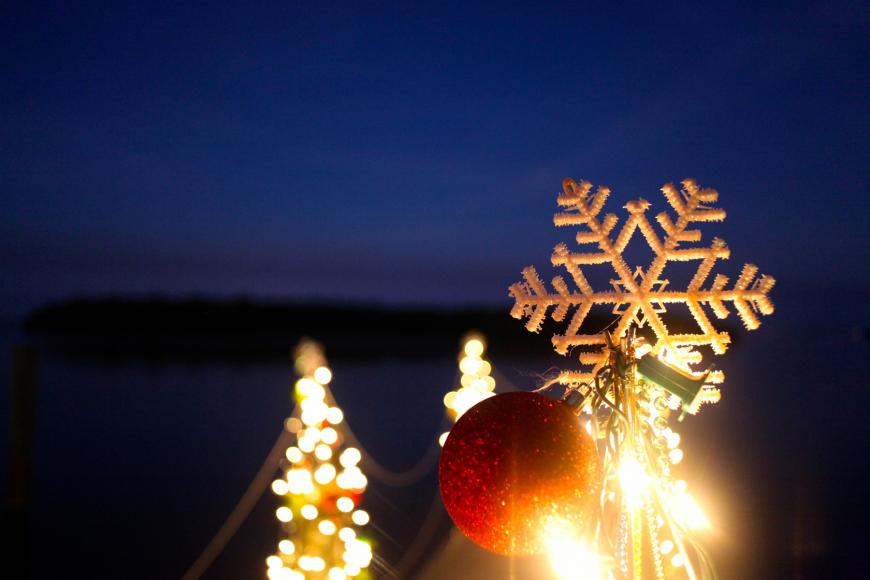 Docks were adorned with snowflakes, ornaments and lights.