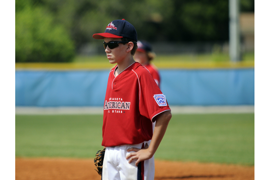 Joey Benante plays first base for the Sarasota American 10/11 All-Stars.