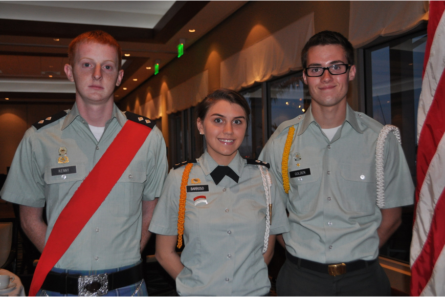 Seth Kenney, Jessica Barroso and Zachary Golden kicked off the ceremony with the Sarasota Military Color Guard
