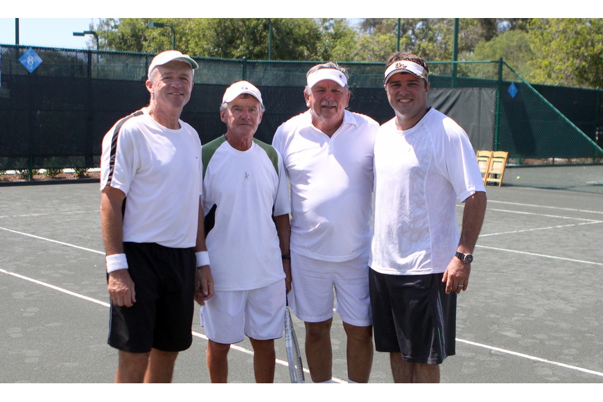 Jim Long and Ken Gorman pose with Tom Cail and Tom Cail Friday, April 22 during the Lunch Bunch All-Star Children's Foundation fundraiser at the Longboat Key Club Tennis Gardens. The Cail's won the match against Long and Gorman.