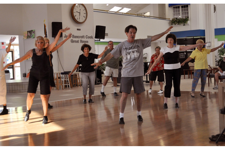 Mike McManus teaches a beginner's tap class every Monday at the Senior Friendship Center.