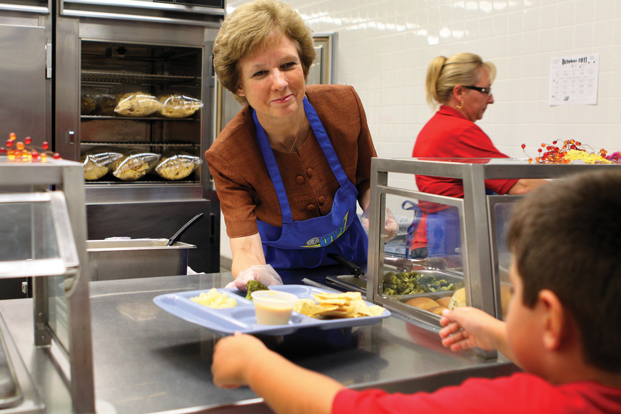 Sarasota County Schools Superintendent Lori White served Gulf Gate Elementary students during National School Lunch Week, Oct. 10-14.