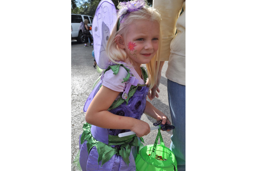 Chelsea Gemme, 4, dressed as a flower fairy.