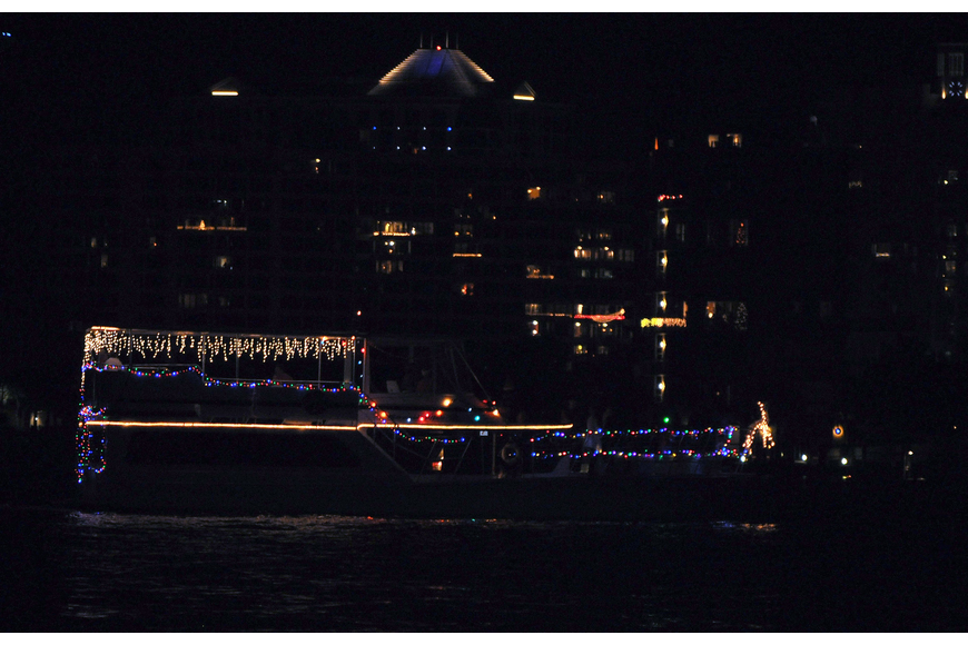 This boat featured icicle lights, multicolored lights and white reindeer at the bow.