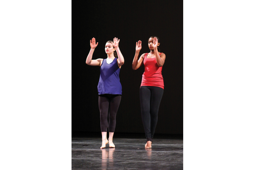 Carolyn Silverman and Nesharri Jones performed during an open house at Booker High's Visual Performing Arts.