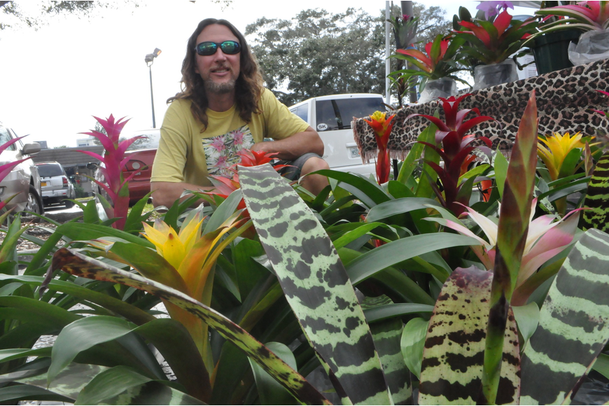 Jason Mellica sells colorful bromeliad.